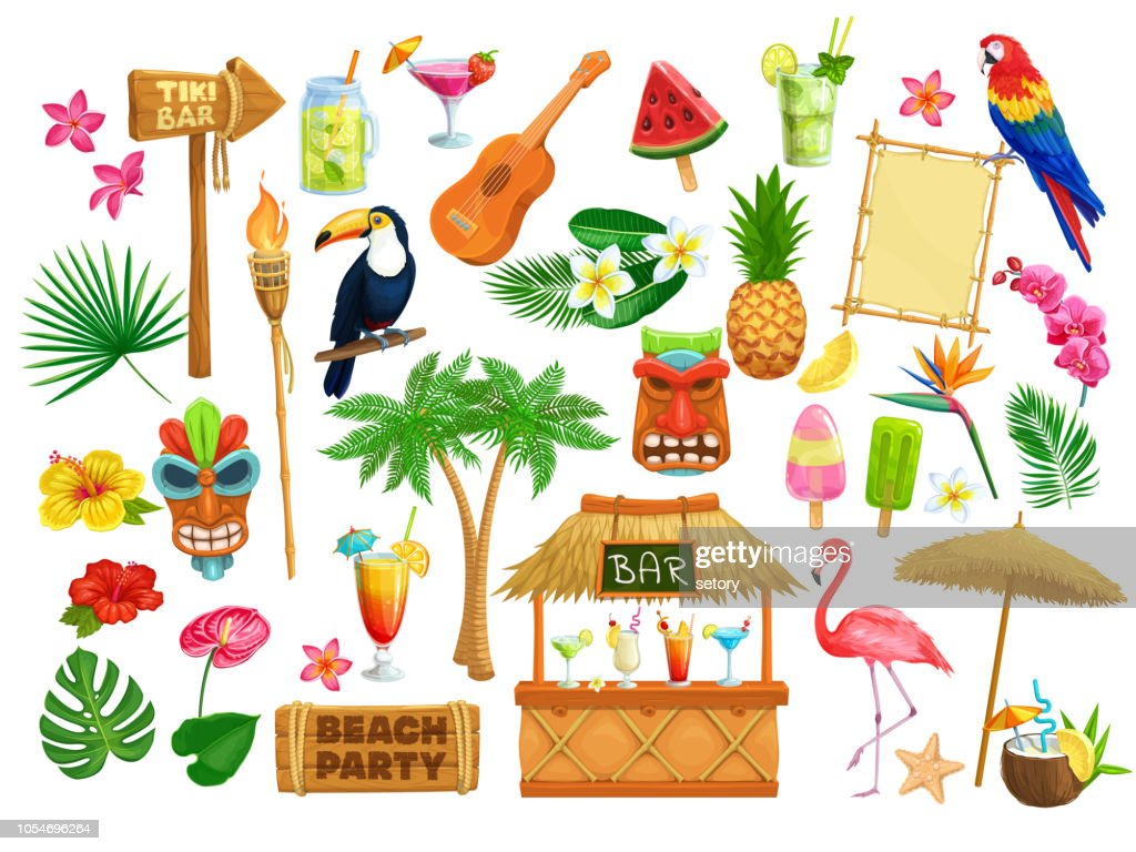hawaiian beach party icons