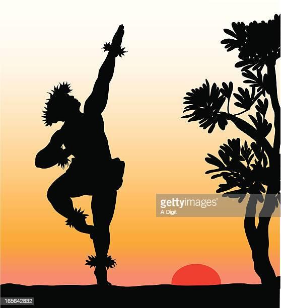 hawaiian dancer vector silhouette - hawaiian ethnicity stock illustrations, clip art, cartoons, & icons