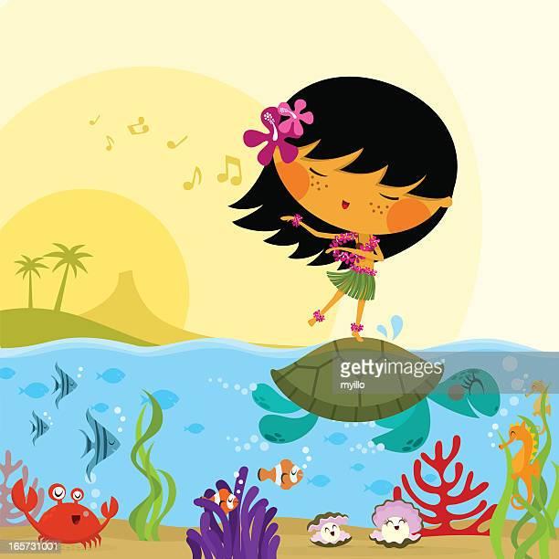 Hawaiian girl sealife underwater hawaii sea cute illustration vector