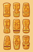 Hawaiian golden tiki god statue carved polynesian tikki ku lono