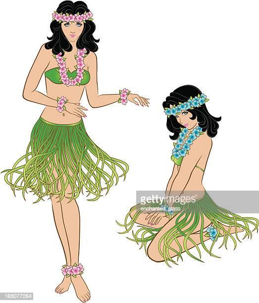 hawaiian hula dancers - hawaiian ethnicity stock illustrations, clip art, cartoons, & icons