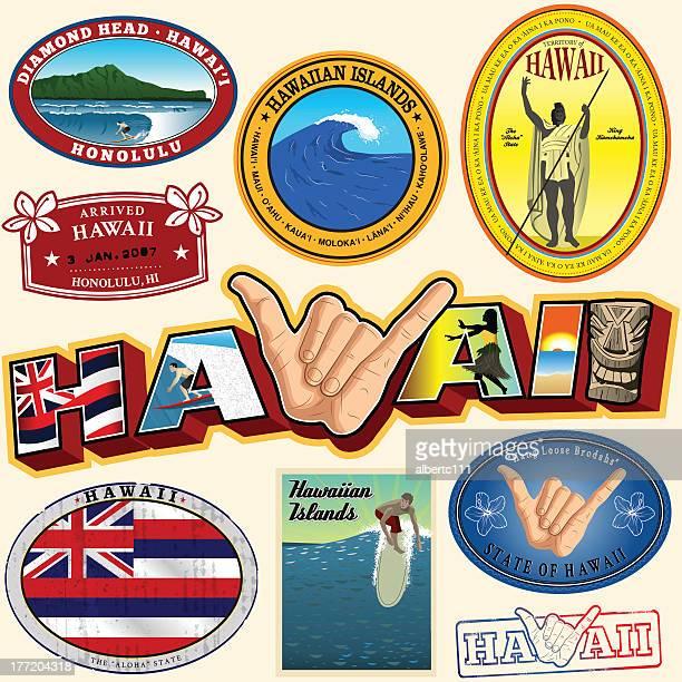 hawaiian lanmarks and magic - diamond head stock illustrations