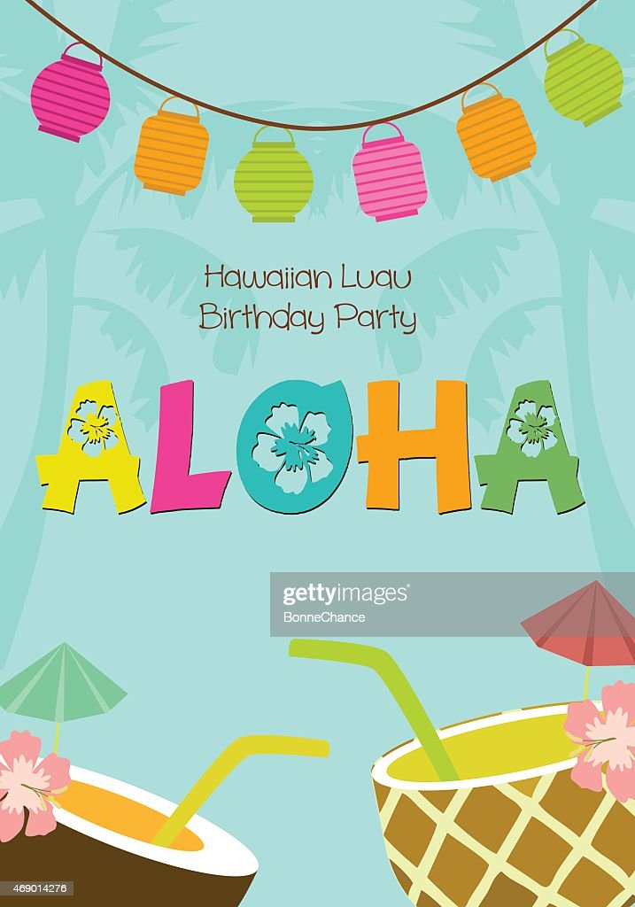 Hawaiian luau birthday invitation