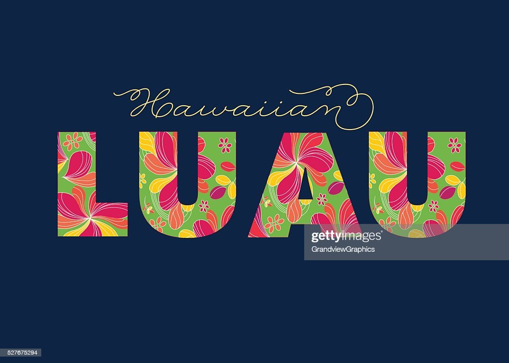 Hawaiian Luau colorful tropical text - party