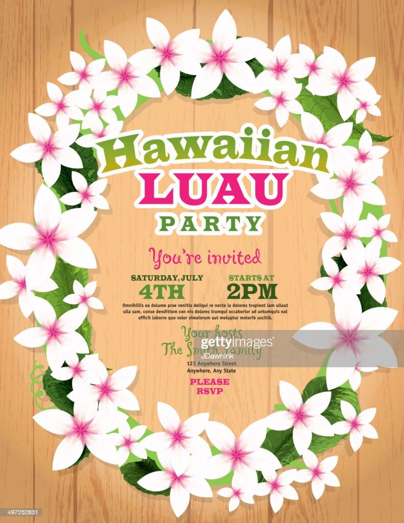Hawaiian luau invitation design template lei flowers and wood hawaiian luau invitation design template lei flowers and wood background vector art stopboris Gallery