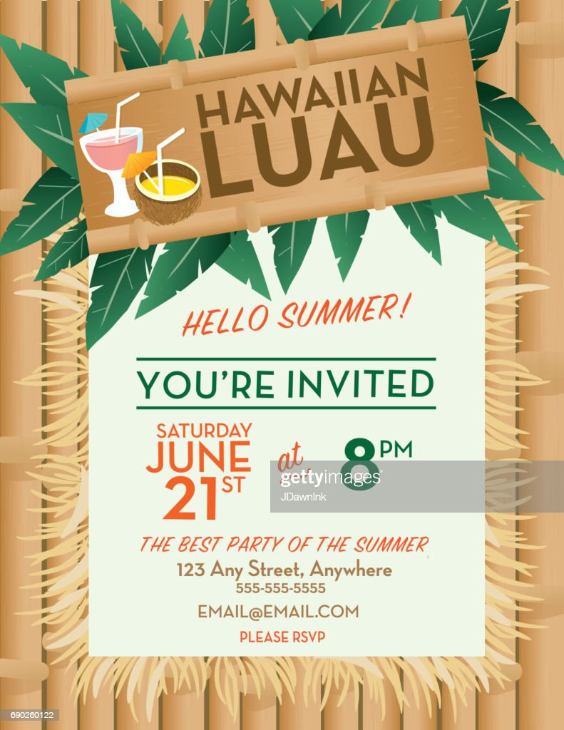 Hawaiian Luau invitation design template