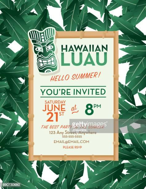 illustrations, cliparts, dessins animés et icônes de hawaiian luau invitation modèle de conception - plante tropicale