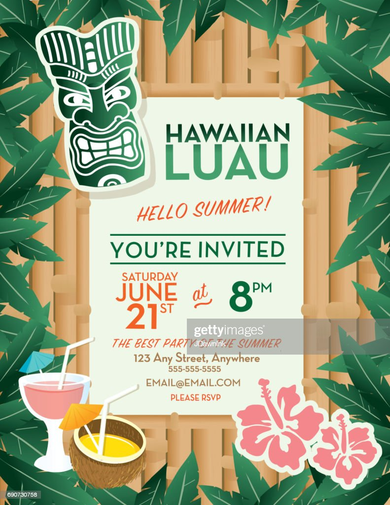 hawaiian luau invitation design template vector art getty images