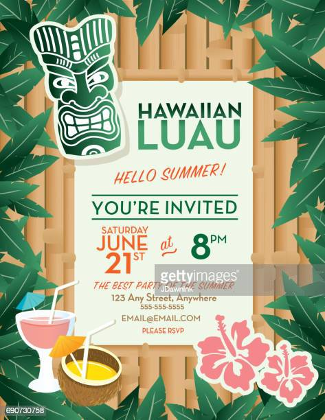 Hawaiian Luau invitation design template