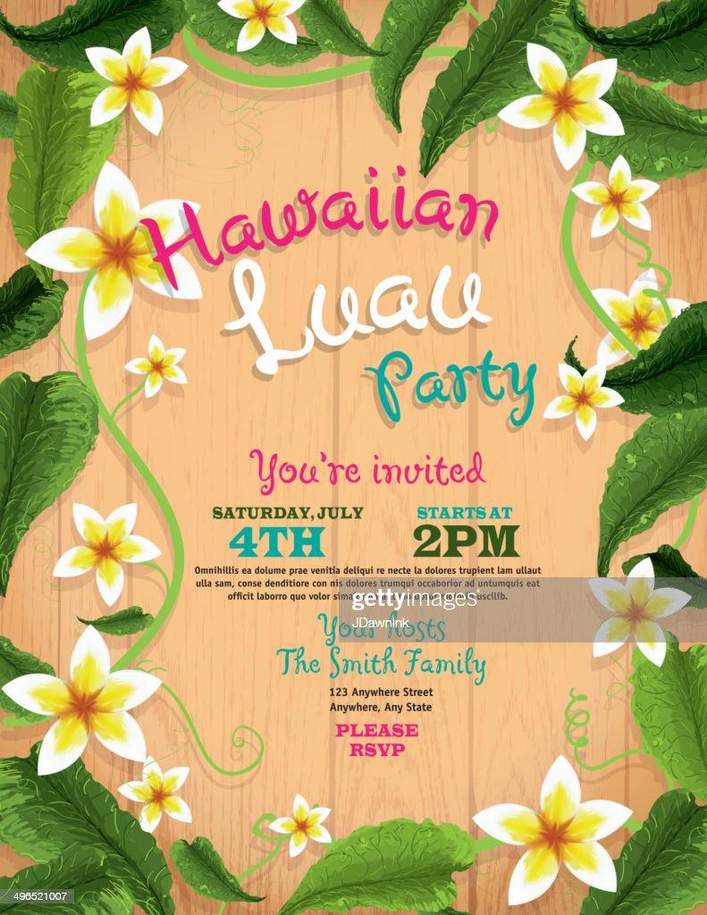 hawaiian luau invitation design template with flowers and wood