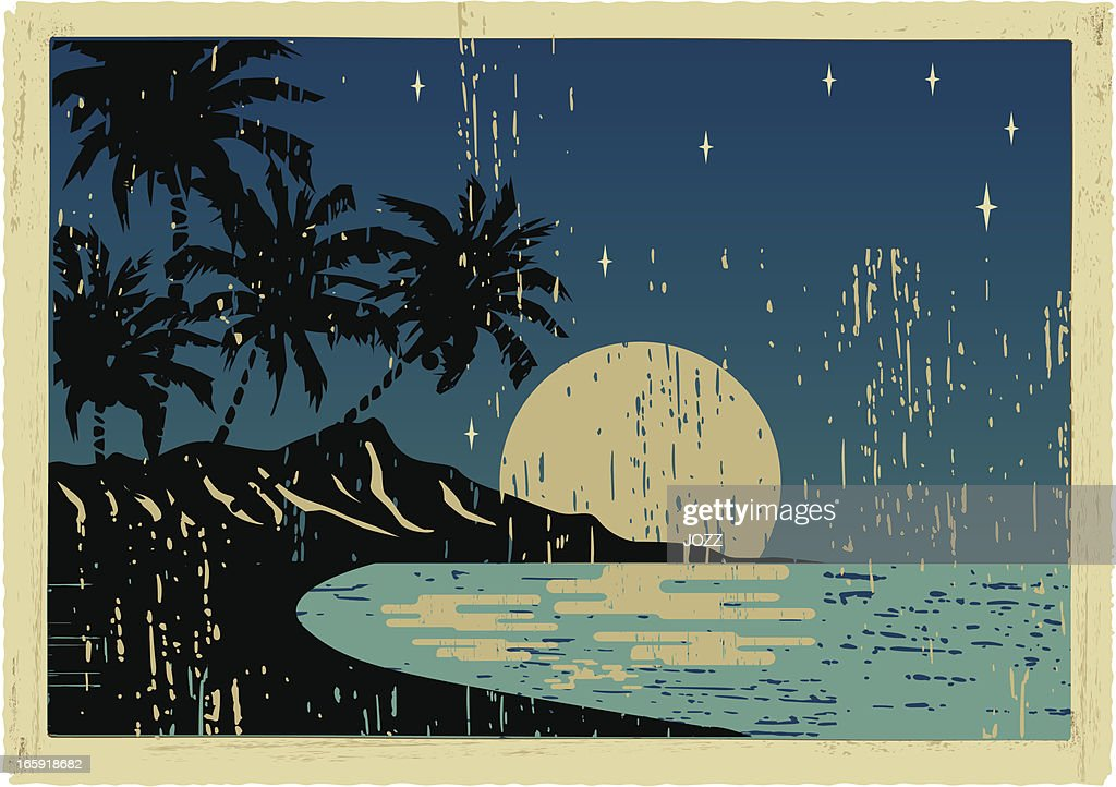 hawaiian night postcard