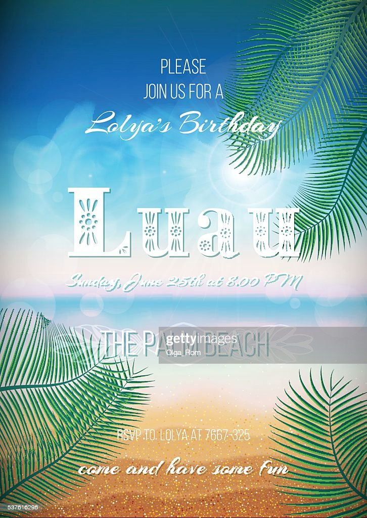 Hawaiian Party, Luau feast poster, flyer, invitation template
