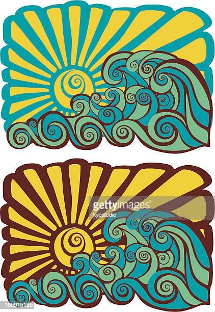 ilustrações, clipart, desenhos animados e ícones de hawaiian psicodélico estêncil ao pôr-do-sol - esportes extremos