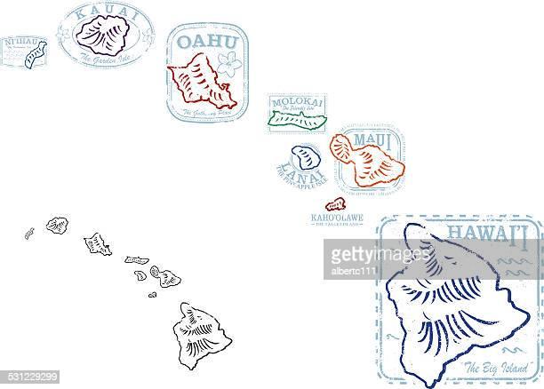 hawaiian shape stamps - honolulu stock illustrations