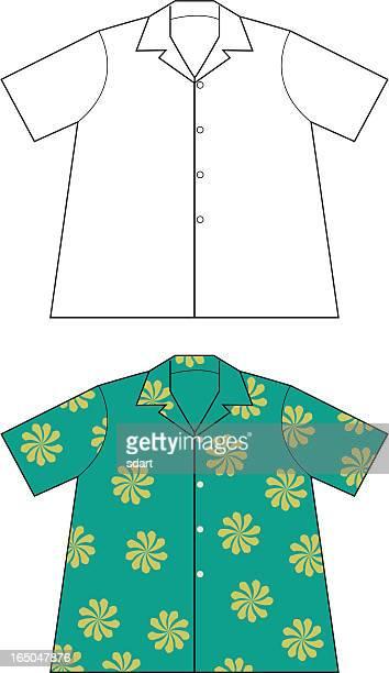 hawaiian shirt flats - hawaiian shirt stock illustrations