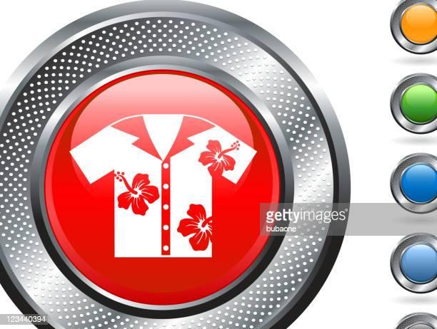 hawaiian shirt royalty free vector art on metallic button - hawaiian shirt stock illustrations