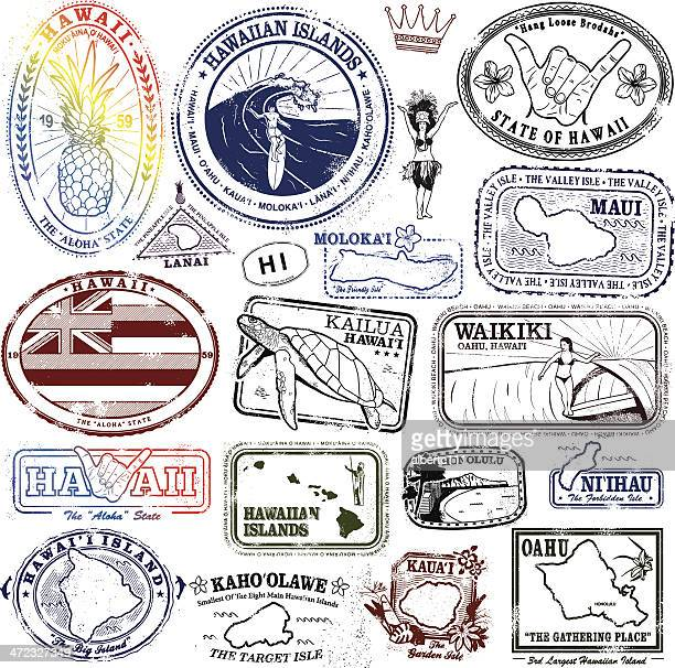 hawaiian stamps supreme - surfing stock illustrations, clip art, cartoons, & icons