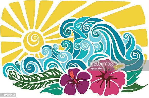ilustrações, clipart, desenhos animados e ícones de pôr do sol do havaiano estêncil - esportes extremos
