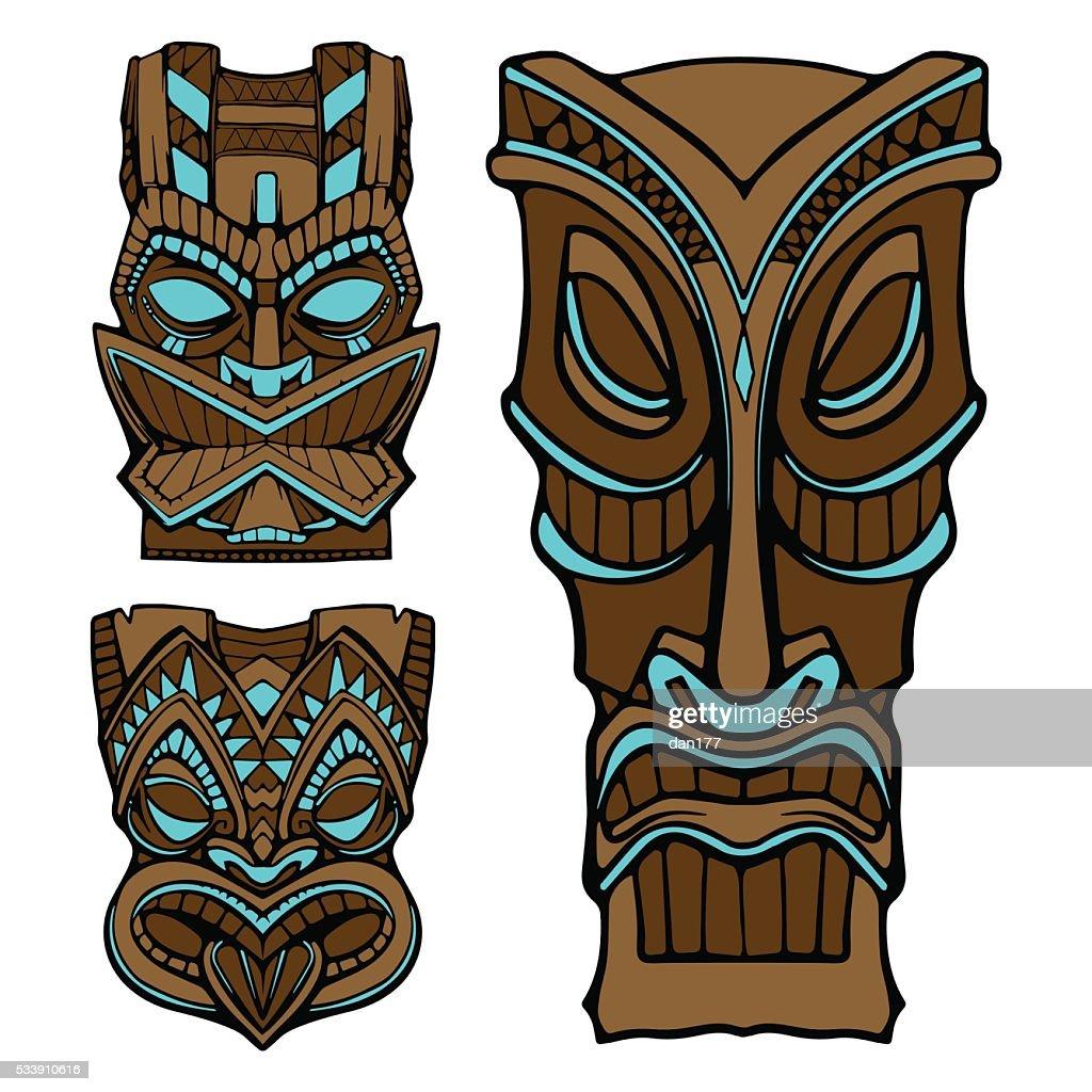 Hawaiian tiki god statue carved wood