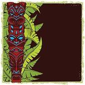 Hawaiian tiki god statue carved wood vector illustration