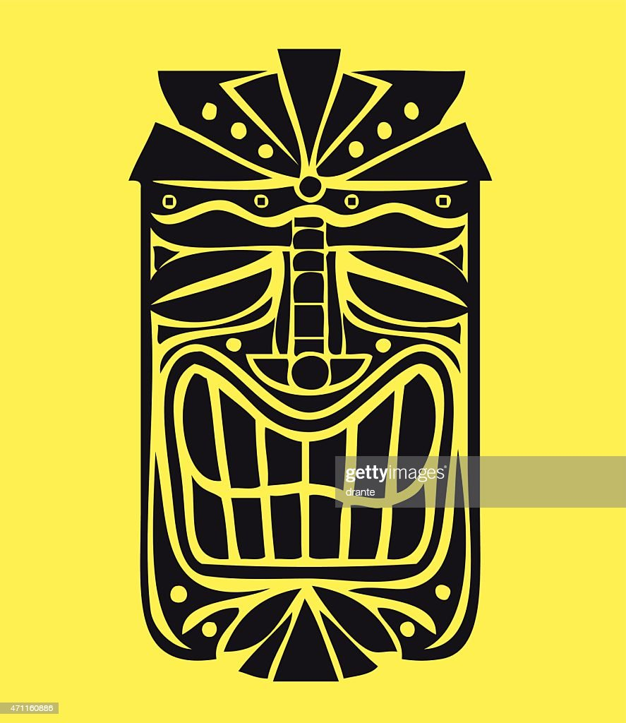 Hawaiian Tiki Mask vector design, exotic island decoration
