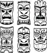 Hawaiian tiki statue masks black and white set