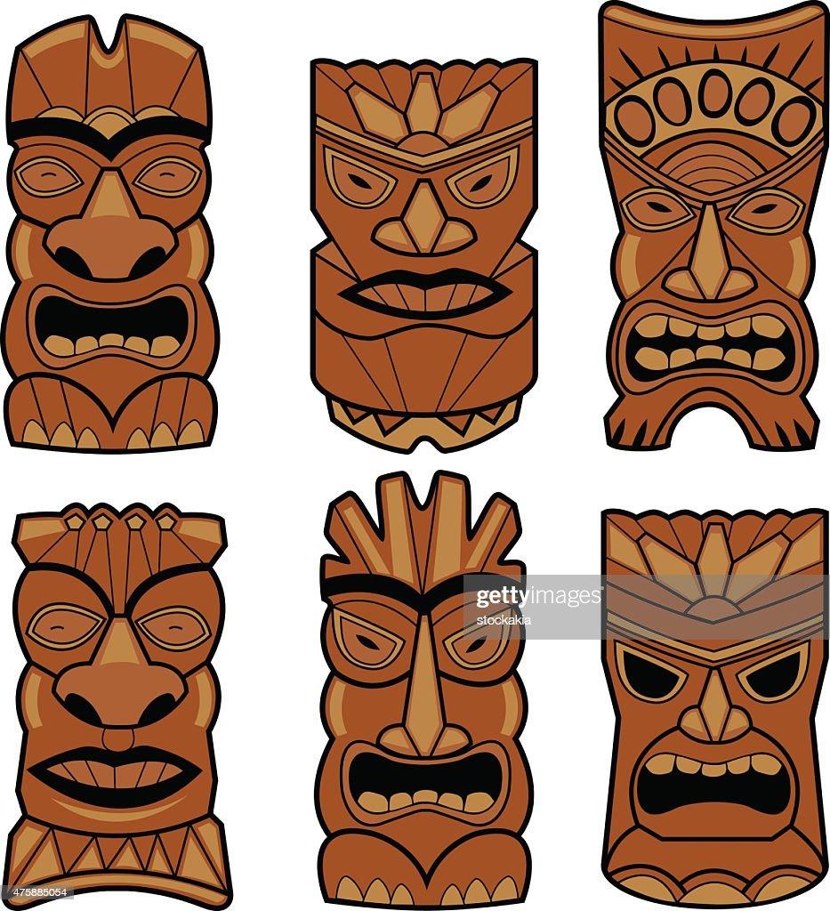 Hawaiian tiki statue masks set