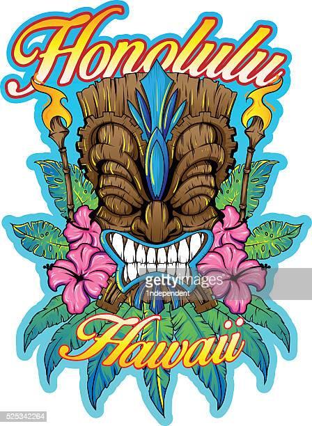 hawaiian tiki - hawaiian ethnicity stock illustrations, clip art, cartoons, & icons