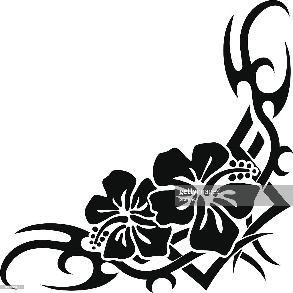 Black And White Hawaiian Flower Clip Art Corner 1 Clip Art