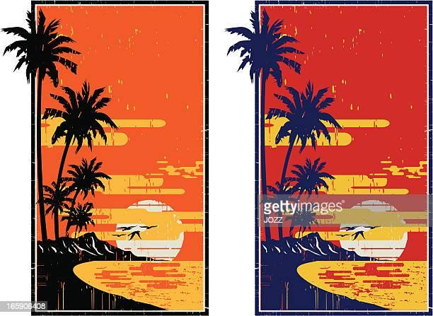 hawaiian vintage frame - big island hawaii islands stock illustrations