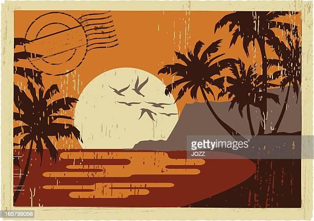 hawaiian vintage postcard - postcard stock illustrations, clip art, cartoons, & icons