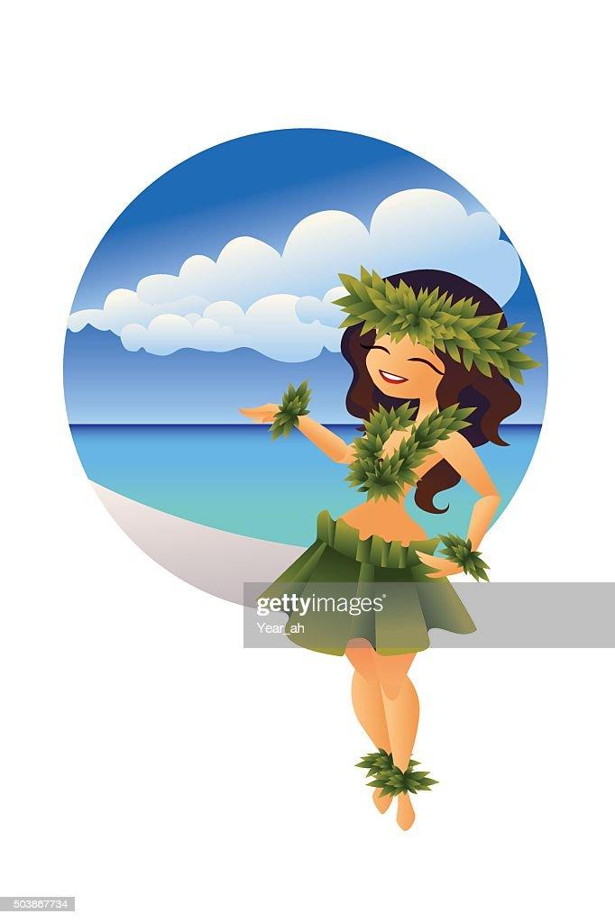 hawaiian young hula dancer on ocean beach