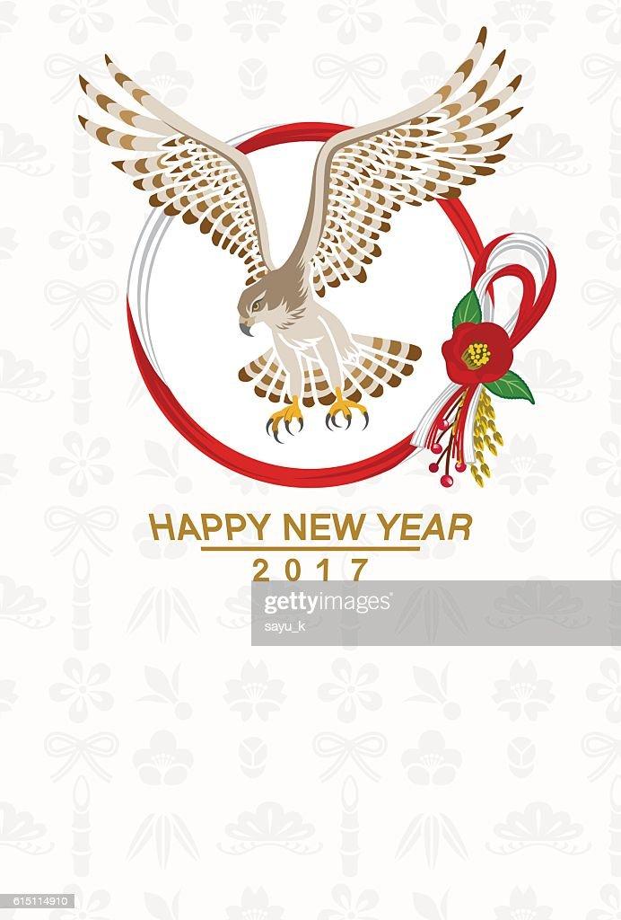 Hawk and Wreath -New Year card