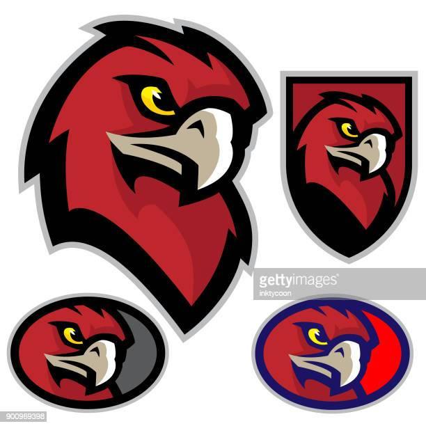 hawk head mascot - hawk bird stock illustrations, clip art, cartoons, & icons