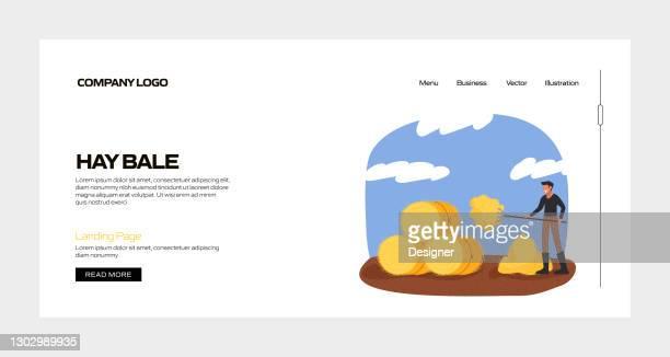 ヘイベールコンセプトベクトルランディングページテンプレート、ウェブサイトバナー、広告とマーケティング資料、オンライン広告、ビジネスプレゼンテーションなど - スマート農業点のイラスト素材/クリップアート素材/マンガ素材/アイコン素材