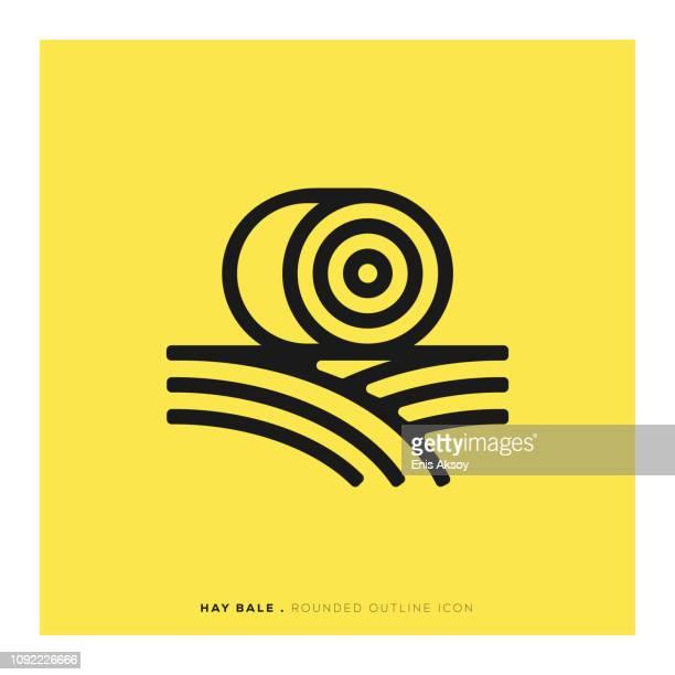 干し草ベール丸みを帯びた線アイコン - 麦わら点のイラスト素材/クリップアート素材/マンガ素材/アイコン素材