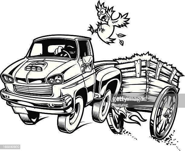 hay ride yeeeehaaaaw b&w - runaway vehicle stock illustrations, clip art, cartoons, & icons