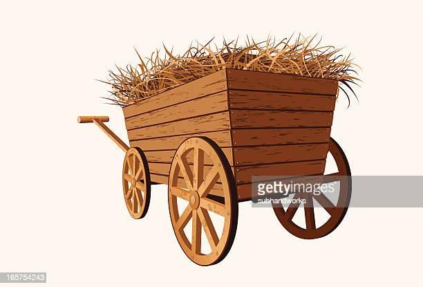 hay wagon - horse cart stock illustrations, clip art, cartoons, & icons