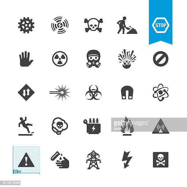 hazard and warning vector signs - danger stock illustrations