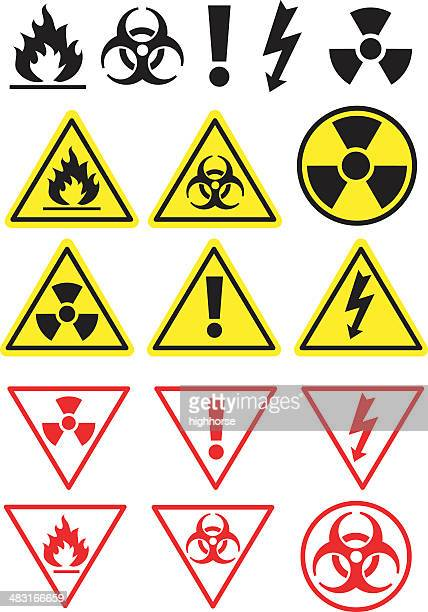 hazard icons and symbols - nuclear power station stock illustrations