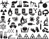 hazard, pollution and danger icons set (barrels with nuclear waste)