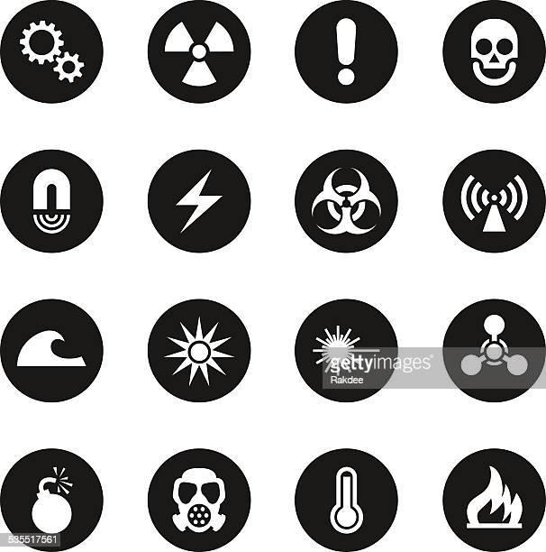Hazard Sign Icons - Black Circle Series