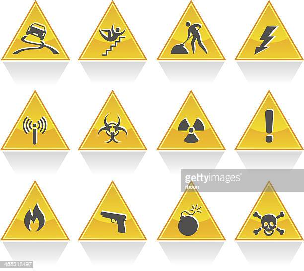 hazard signs - occupational safety and health stock illustrations, clip art, cartoons, & icons
