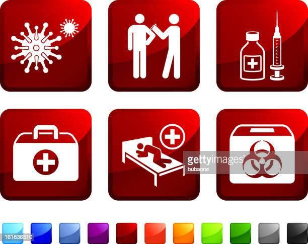 hazard virus sickness and vaccination royalty free vector icon set - antibiotic stock illustrations, clip art, cartoons, & icons