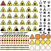 Hazard warning attention sign with exclamation mark symbol information and