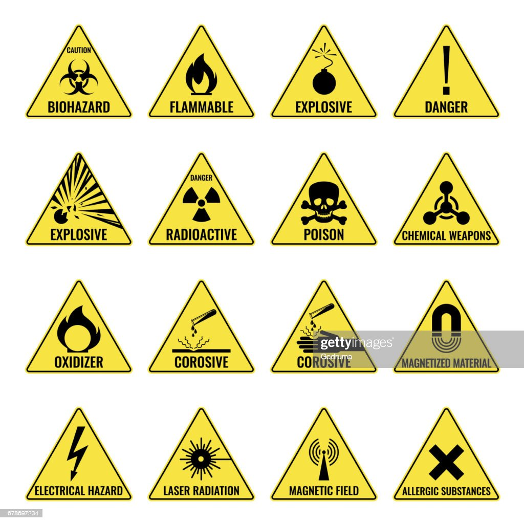 Hazard warning triangual yellow icon set on white