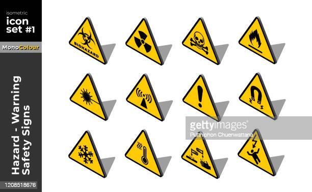 ilustraciones, imágenes clip art, dibujos animados e iconos de stock de hazard warning-caution safety signs flat isometric icon set illustration - arma biológica