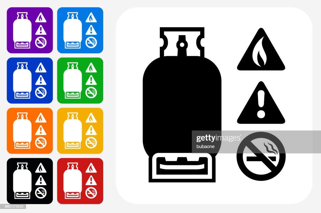Gefährliche Gas Symbol Square Buttonset : Stock-Illustration