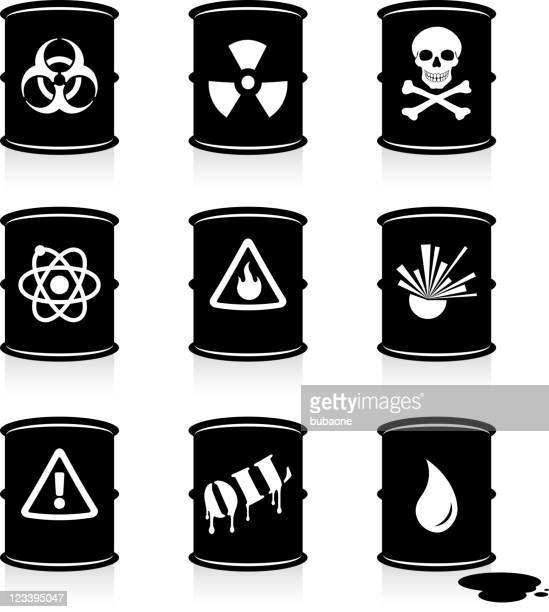 hazardous waste barrels black and white vector icon set - spill stock illustrations, clip art, cartoons, & icons