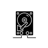 Hdd storage black icon, vector sign on isolated background. Hdd storage concept symbol, illustration